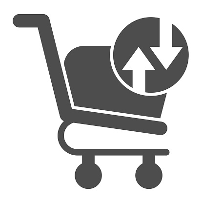 Shopping basket with arrows glyph icon. Market trolley exchange turnover button sign. Commerce vector design concept, solid style pictogram on white background, use for web and app. Eps 10.