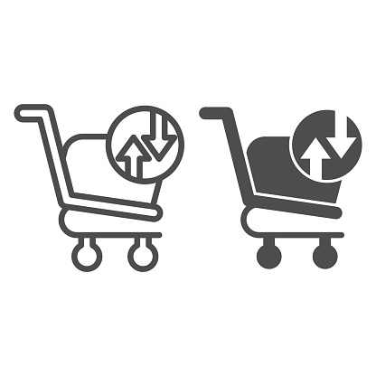 Shopping basket with arrows line and glyph icon. Market trolley exchange turnover button sign. Commerce vector design concept, outline style pictogram on white background, use for web and app. Eps 10.