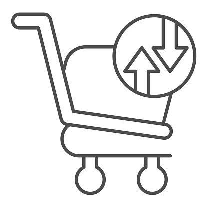 Shopping basket with arrows thin line icon. Market trolley exchange turnover button sign. Commerce vector design concept, outline style pictogram on white background, use for web and app. Eps 10.
