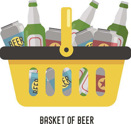 Shopping basket with beer. Beer in cans and glass bottles