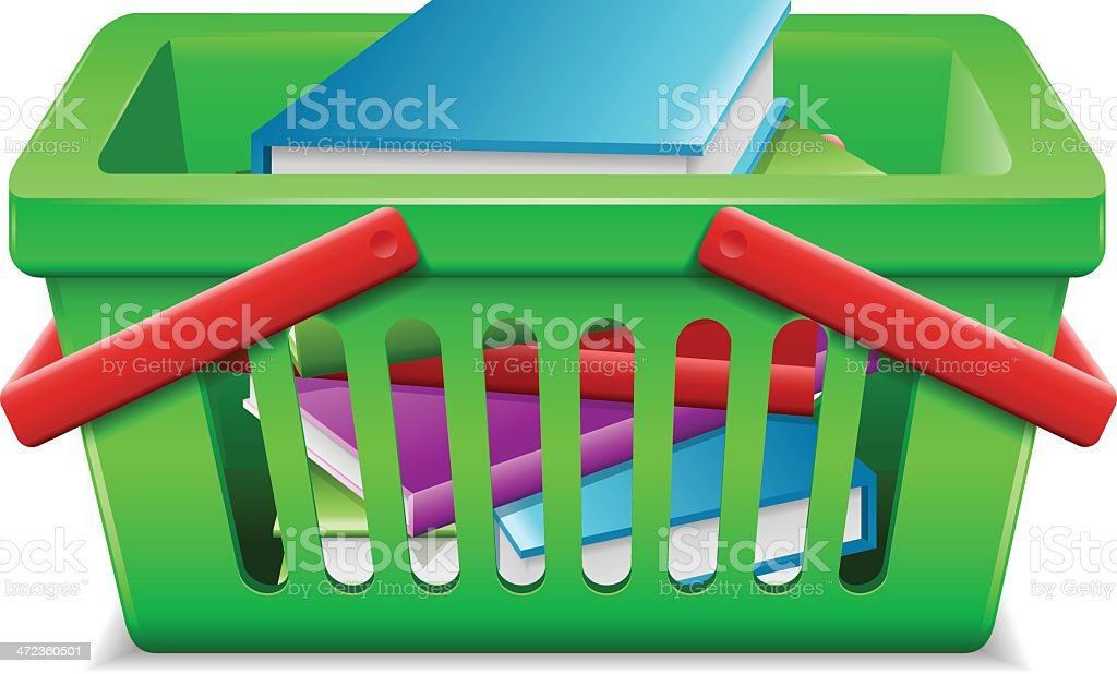 Shopping basket with books royalty-free stock vector art