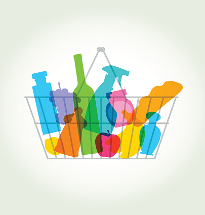 A shopping basket with colorful grocery silhouettes