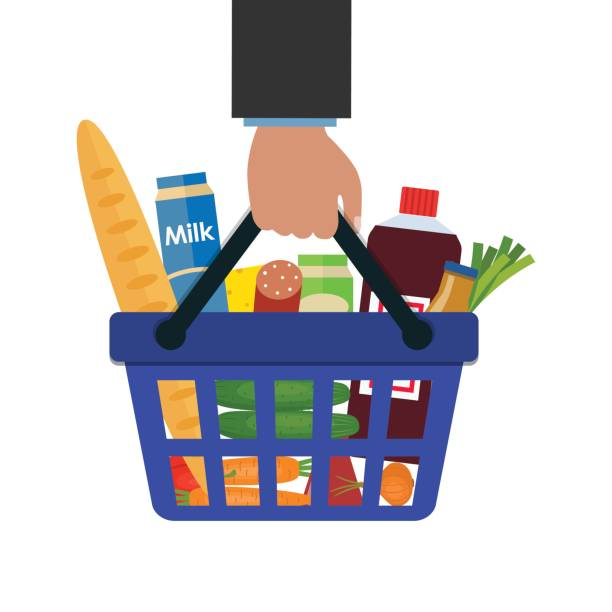 shopping basket with food and drink in hand - kosz na zakupy stock illustrations