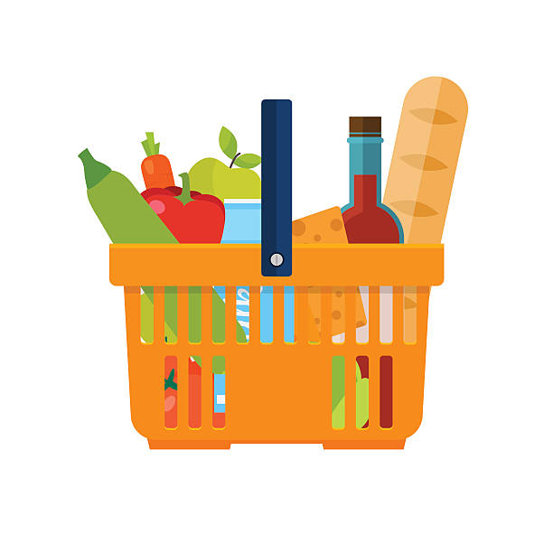Shopping basket with foods. Healthy organic fresh and natural fo Shopping basket with foods. Healthy organic fresh and natural food. Grocery delivery concept. Flat vector icon. shopping basket stock illustrations