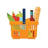 Shopping basket with foods. Healthy organic fresh and natural fo