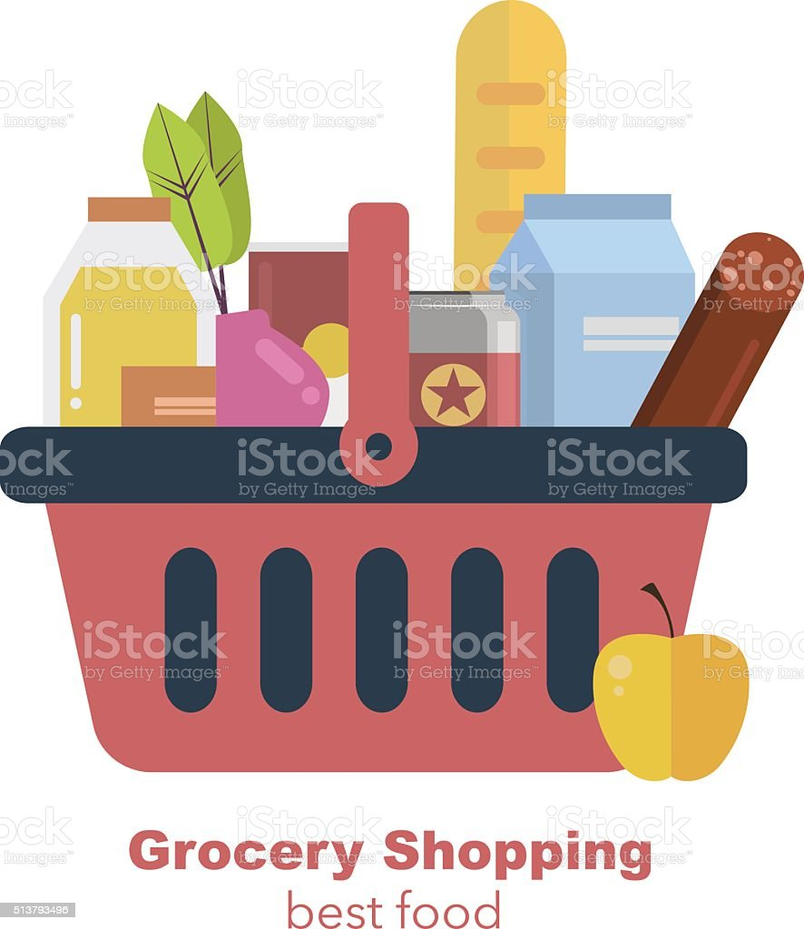 Shopping basket with fresh food and drink. Vector flat illustration vector art illustration