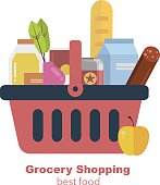 Shopping basket with fresh food and drink. Vector flat illustration