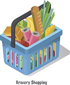 Shopping basket with fresh food and drink.Buy grocery in the supermarket.Isometric vector illustration