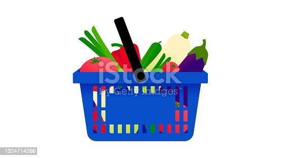 Shopping basket with fresh vegetables.