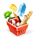 Shopping basket. Organic food sale concept. Goods products falling down. Milk package, cheese, vegetables broccoli cabbage and carrot, bread baguette in paper packaging, eggs, isolated on white transparent background. Eps10 vector illustration.