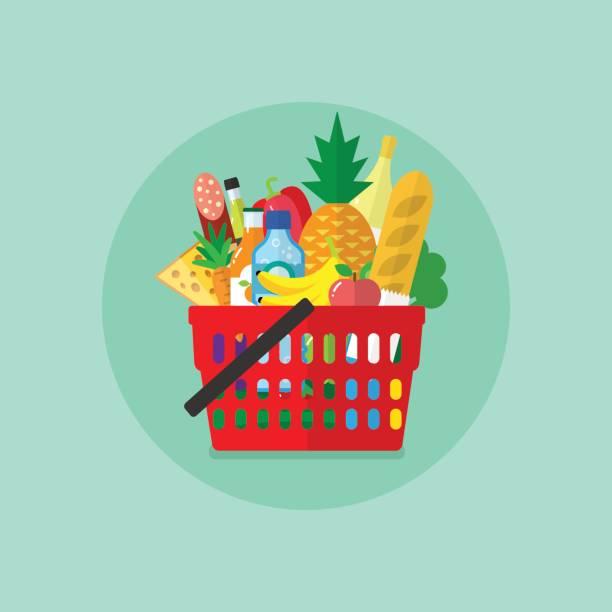 shopping basket with products - kosz na zakupy stock illustrations