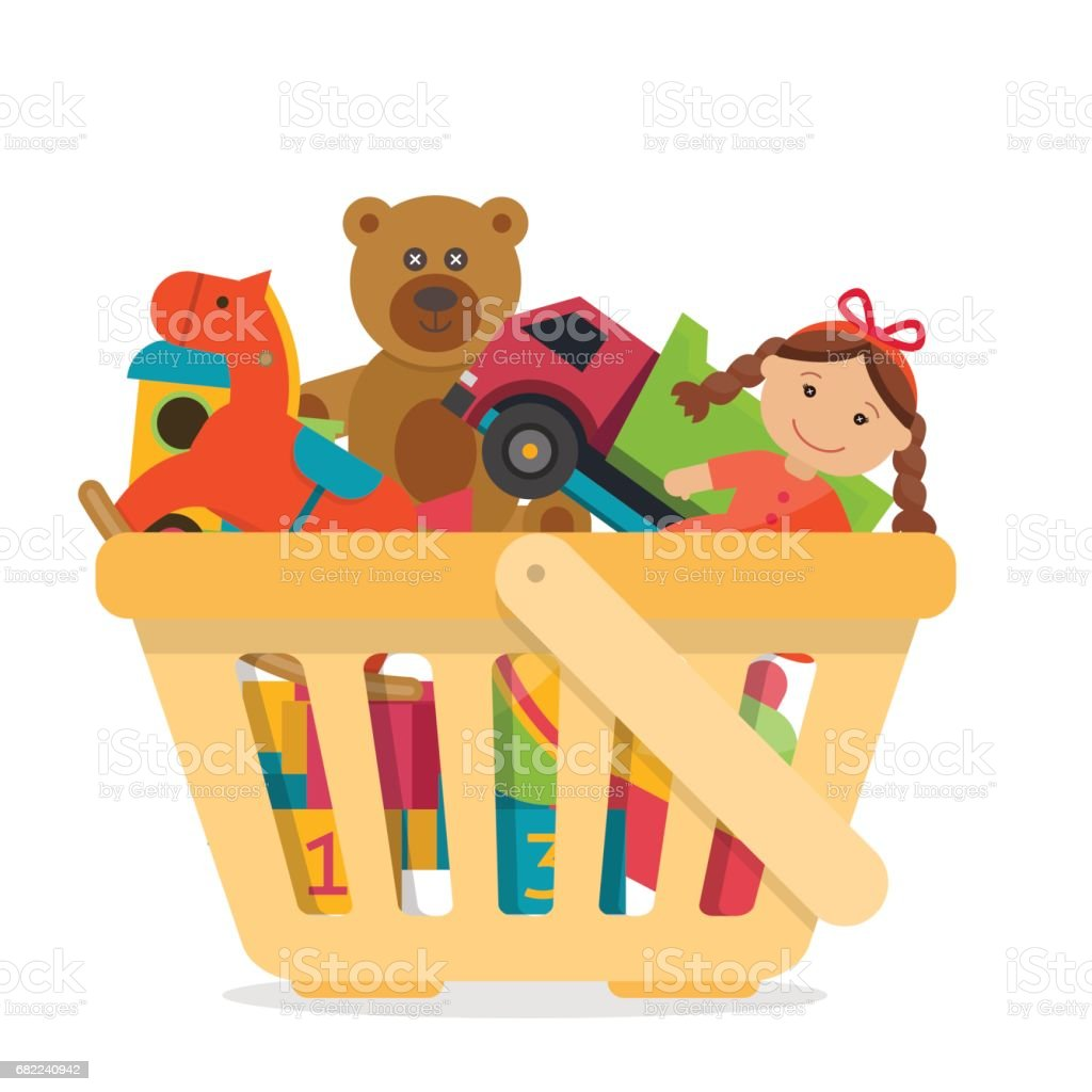 Cesta de compra com brinquedos. - ilustração de arte em vetor
