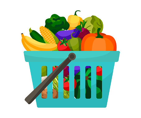 Shopping basket with vegetables and fruits.