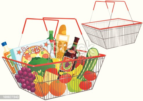 Shopping Baskets One Empty One Full Stock Vector Art ...