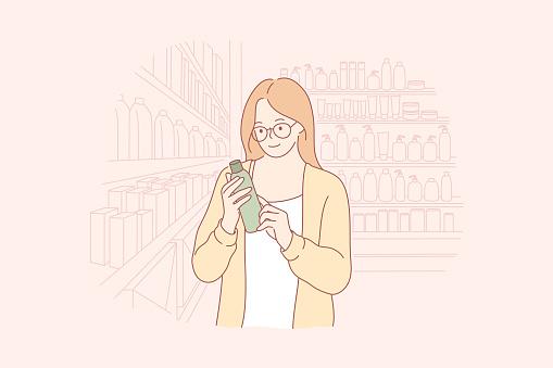 Shopping, beauty, eco cosmetics concept