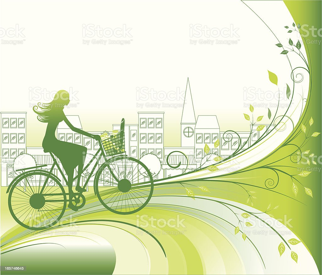 Shopping Bio and Eco - Woman, bike & grocery vector art illustration
