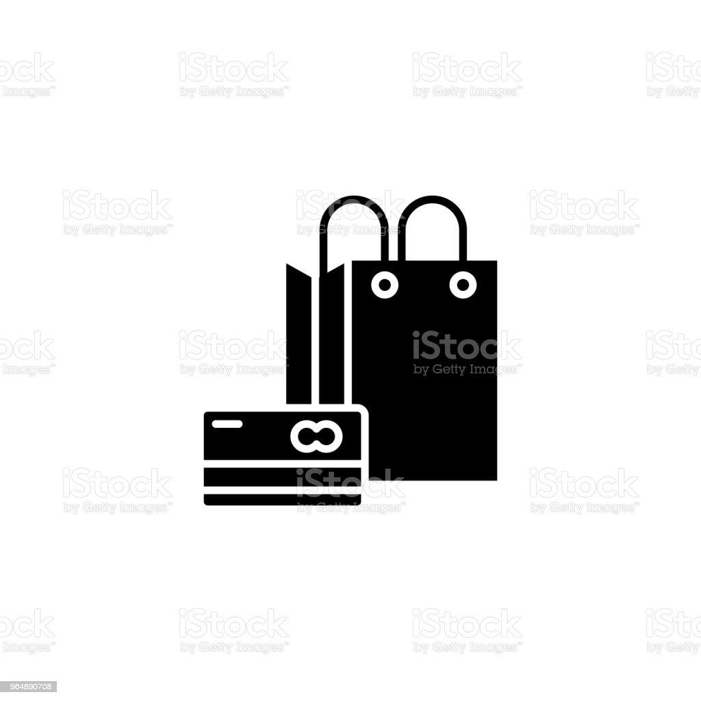 購物黑圖示概念。購物平面向量符號, 符號, 插圖。 - 免版稅一組物體圖庫向量圖形