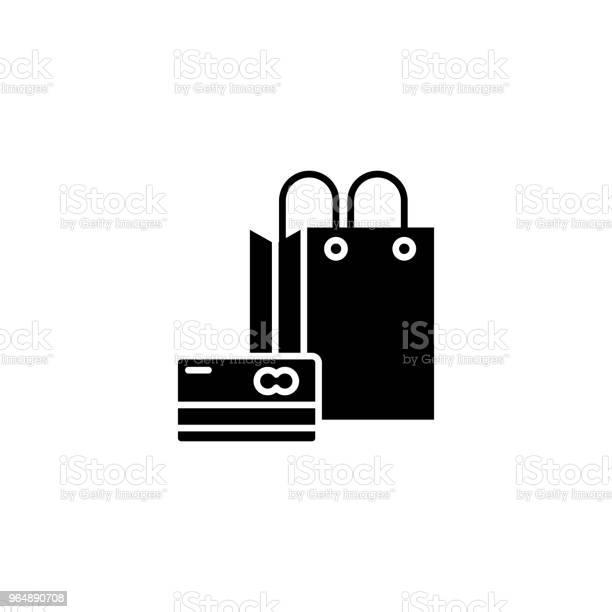 購物黑圖示概念購物平面向量符號 符號 插圖向量圖形及更多一組物體圖片