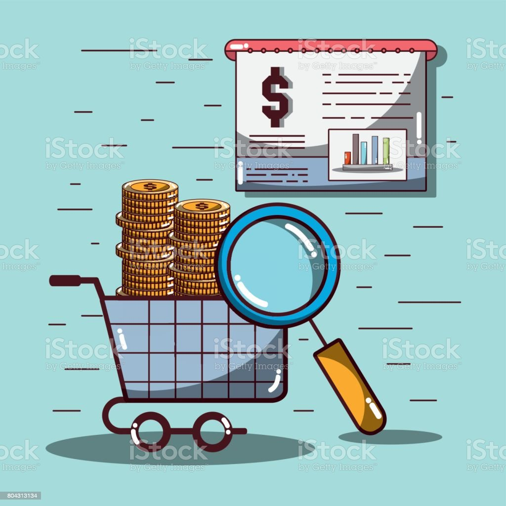 shopping car with coins and statistics documents and magnifying glass vector art illustration