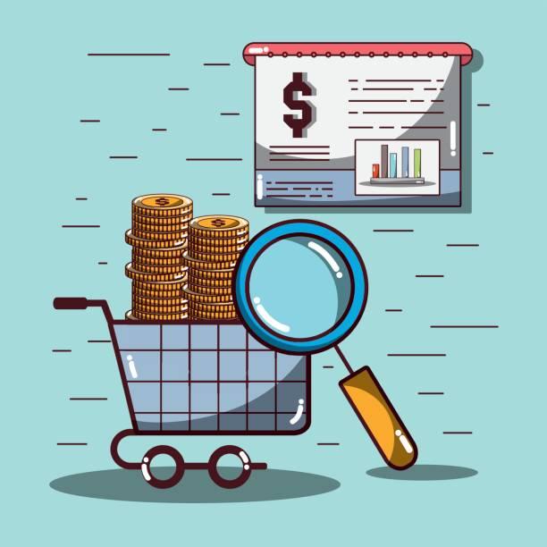 compra coche con monedas y estadísticas documentos y lupa - ilustración de arte vectorial