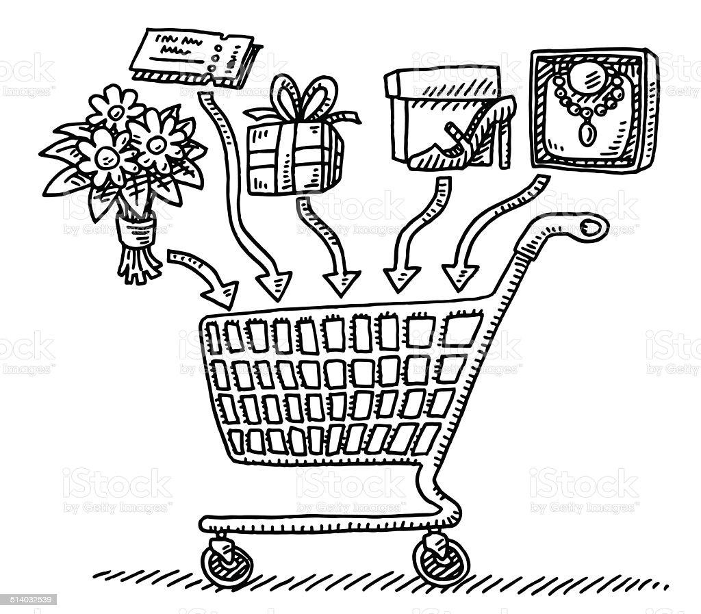 Einkaufswagen Hinzufügen Von Zeichnung Stock Vektor Art ...