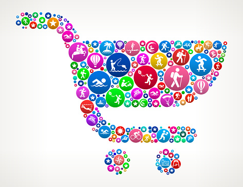 Shopping Cart Adventure Travel Vector Icon Pattern