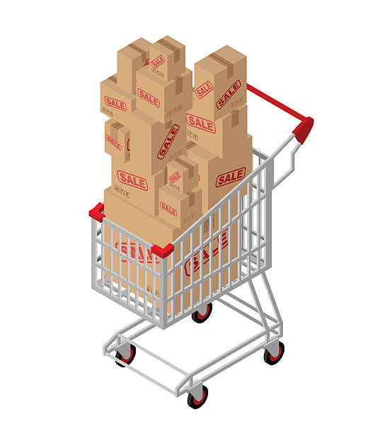 shopping cart and box sale isometric. shopping at supermarket. m - metallwarenkorb stock-grafiken, -clipart, -cartoons und -symbole