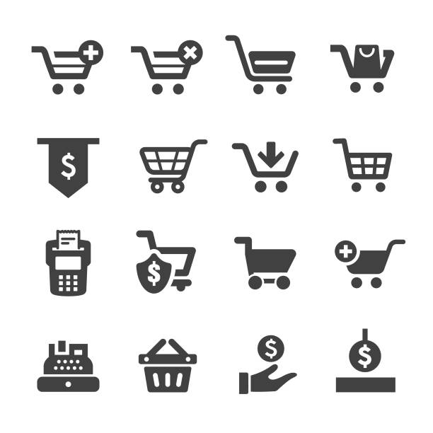 Shopping Cart and Cashier Icons - Acme Series Shopping Cart, Cashier, online shopping stock illustrations