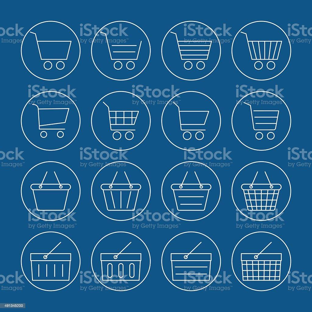 Canastilla Mas.Ilustracion De Cesta De Compras Conjunto De Iconos De Canastilla Y Mas Vectores Libres De Derechos De 2015