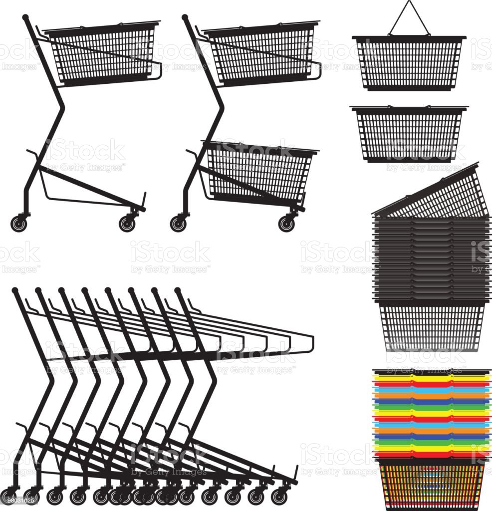 shopping cart & basket side view royalty-free shopping cart basket side view stock vector art & more images of clip art
