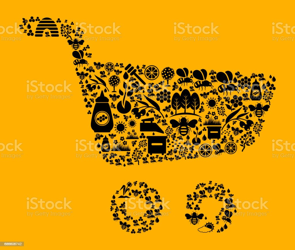 Shopping Cart  Bee and Honey Vector Icon Background royalty-free shopping cart bee and honey vector icon background stock vector art & more images of agriculture