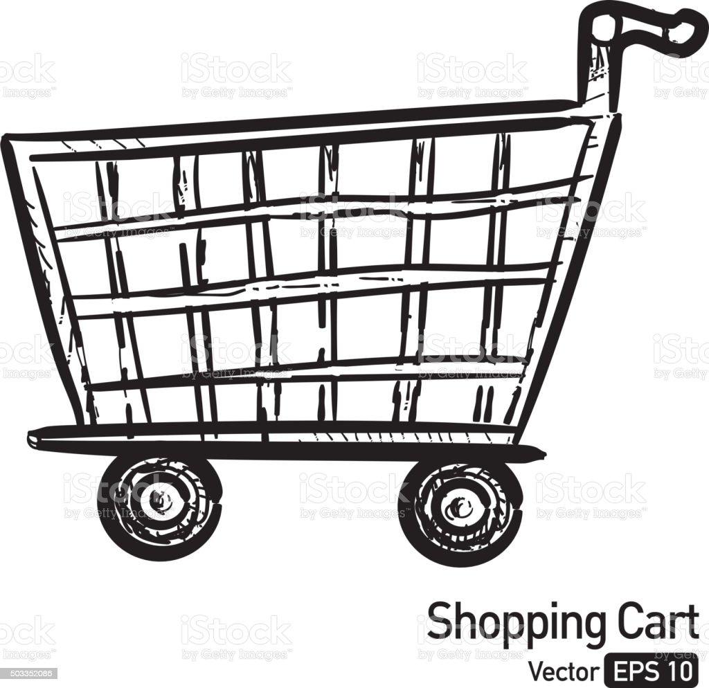 Shopping cart black and white line art vector art illustration