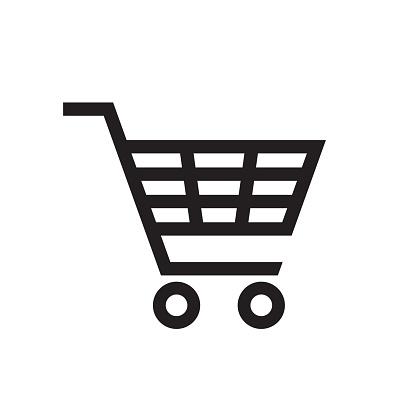 Shopping Cart - black icon on white background vector illustration for website, mobile application, presentation, infographic. Basket concept sign. Graphic design element.