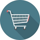Shopping cart circle icon with long shadow. Flat design style. Shopping cart simple silhouette. Modern, minimalist, round icon in stylish colors. Web site page and mobile app design vector element.