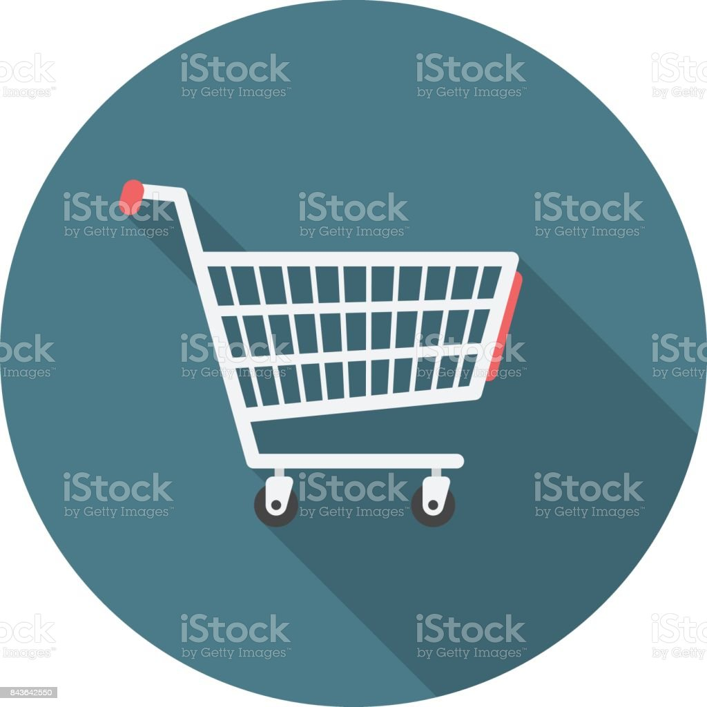 Shopping cart circle icon with long shadow. Flat design style. vector art illustration