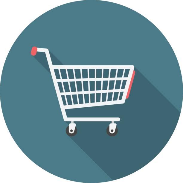 stockillustraties, clipart, cartoons en iconen met shopping cart cirkel pictogram met lange schaduw. platte ontwerpstijl. - winkelwagentje