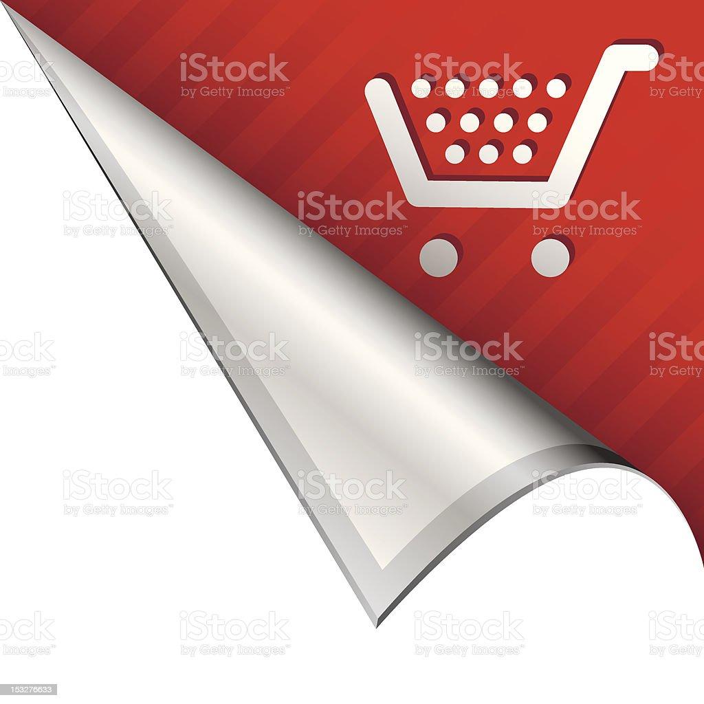 Shopping cart e-commerce corner tab vector art illustration
