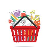 Shopping Cart Filled With Back To School Supplies. Assorted school supplies. Sale concept