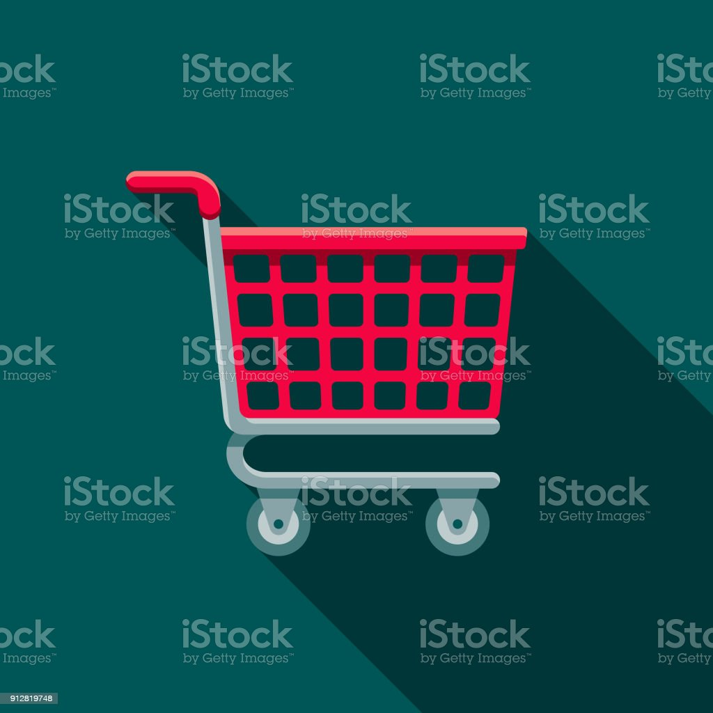 Shopping Cart Flat Design E-Commerce Icon vector art illustration