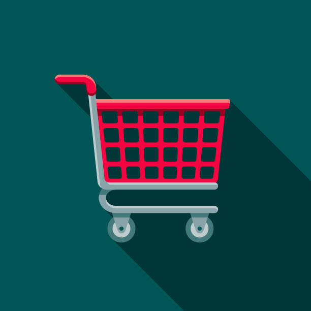 Shopping Cart Flat Design E-Commerce Icon A flat design styled shopping & e-commerce icon with a long side shadow. Color swatches are global so it's easy to edit and change the colors. cart stock illustrations