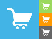 Shopping Cart Flat Icon on Blue Background. The icon is depicted on Blue Background. There are three more background color variations included in this file. The icon is rendered in white color and the background is blue.
