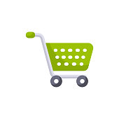 istock Shopping Cart Flat Icon. Pixel Perfect. For Mobile and Web. 1145778812