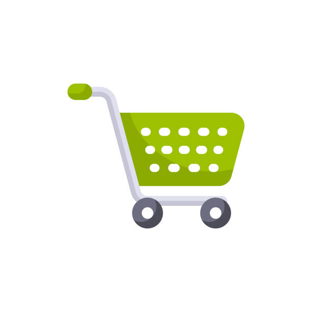 Shopping Cart Flat Icon. Pixel Perfect. For Mobile and Web. Flat Icon. cart stock illustrations