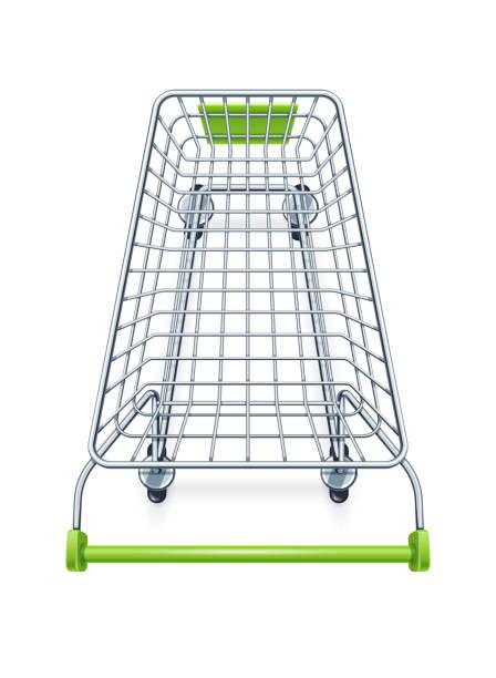 stockillustraties, clipart, cartoons en iconen met winkelwagen voor producten van de supermarkt. - winkelwagentje