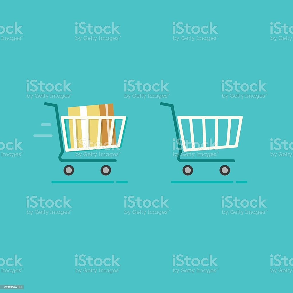 Shopping cart full and empty vector icons vector art illustration