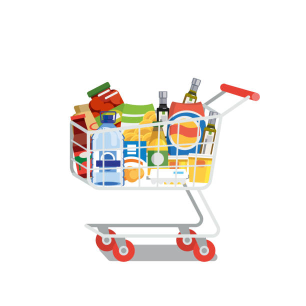 Shopping Cart Full of Food Isolated Flat Vector Supermarket Cart or Trolley Full of Food Products and Drinks Flat Vector Illustration Isolated on White Background. Modern Grocery Store, Food Shop or Supermarket Goods Assortment. Shopping Concept full stock illustrations