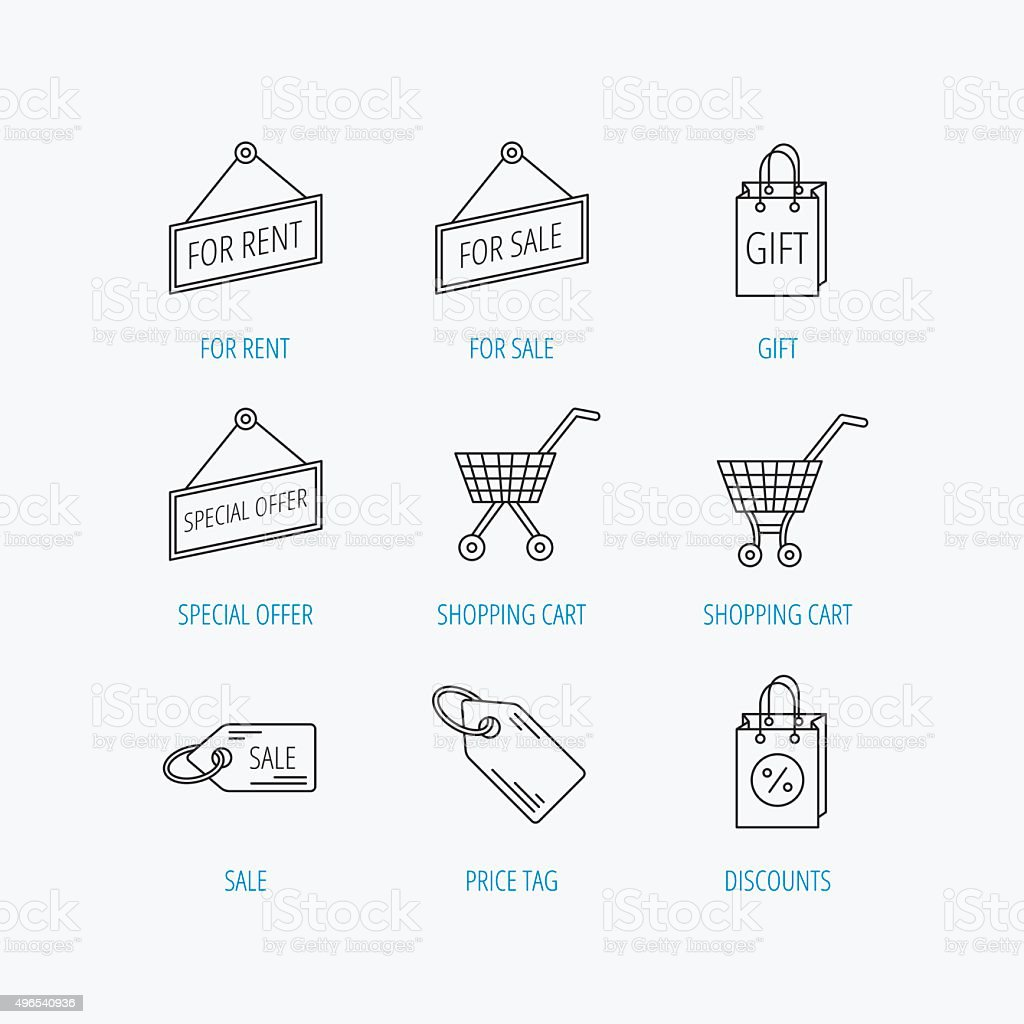 Shopping Cart Gift Bag And Sale Coupon Icons Stock Vector Art More Diagram Royalty Free