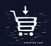 Glitch effect vector icon illustration of shopping cart with abstract background.