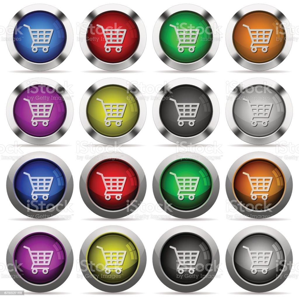 Shopping cart glossy button set shopping cart glossy button set – cliparts vectoriels et plus d'images de acheter libre de droits