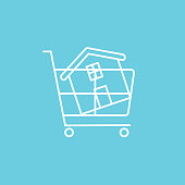 Shopping Cart House Real estate icon set in thin line style.